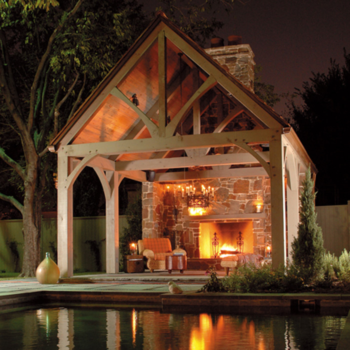 Backyard covered shelter house with fire pit - Houses outdoor fireplace ...